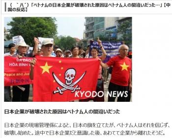 news( `ハ´)「ベトナムの日本企業が破壊された原因はベトナム人の間違いだった…」 【中国の反応】