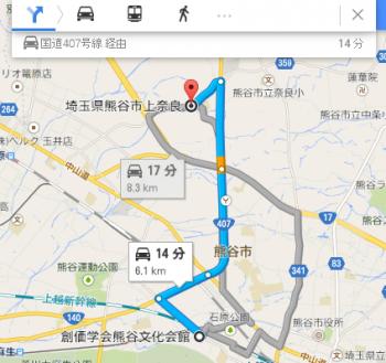 map埼玉県熊谷市上奈良車で十数分