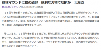 news野球マウンドに猫の頭部 鋭利な刃物で切断か 北海道