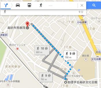 map高砂市民病院車で十数分