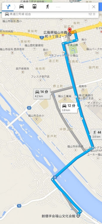 map広島県福山市霞町1ー2ー3車で十数分