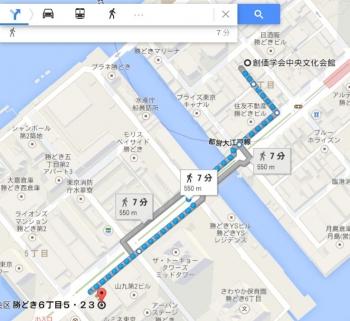 map東京都中央区勝どき6丁目5ー23車で十数分