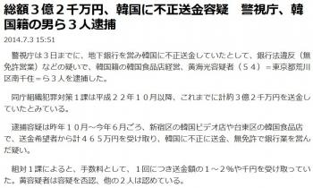 news総額3億2千万円、韓国に不正送金容疑 警視庁、韓国籍の男ら3人逮捕