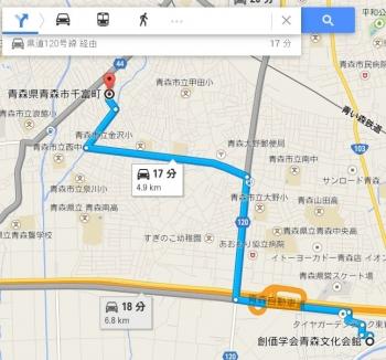 map青森県青森市千富町車で十数分