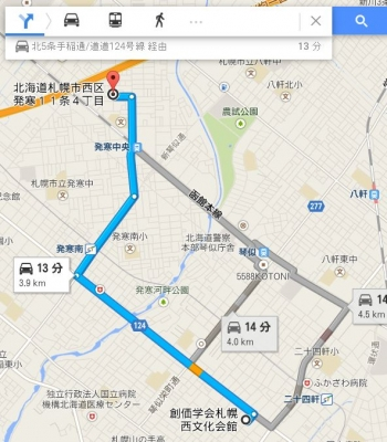 map北海道札幌市西区発寒11条4丁目車で十数分