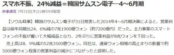 newsスマホ不振、24%減益=韓国サムスン電子―4~6月期