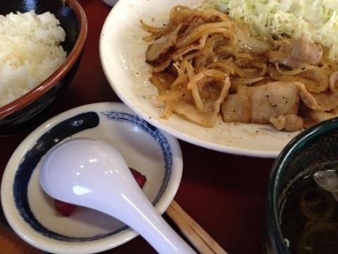 山田うどん 生姜焼き定食