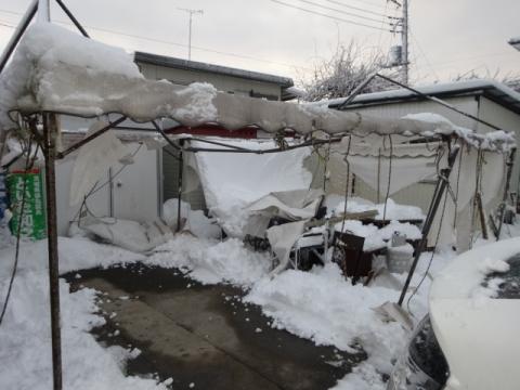 テント大雪で破壊されました。