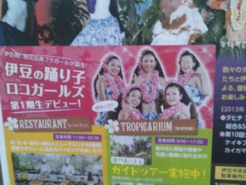 2014.3.22伊豆の踊り子ロコガールズが伊豆のへそ道の駅で誕生してスパリゾートハワイアンズに対抗してるかの看板を撮影した