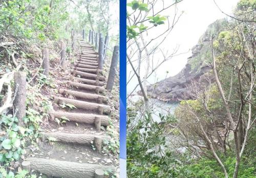 弁財天の洞窟を見に急な坂道を降り行く風景を
