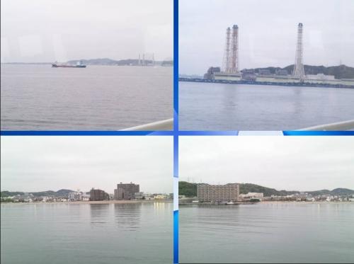 東京湾フェリーで千葉県金屋から横須賀市久里浜までの海の景色写真4つを合成した