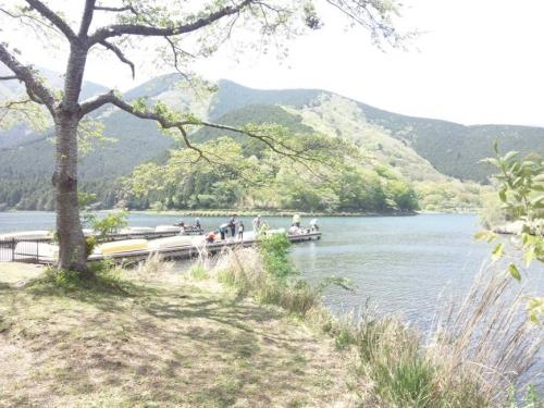 大きな葉桜が見える田尻湖のボート置き場で釣りをする親子が多く見えた光景