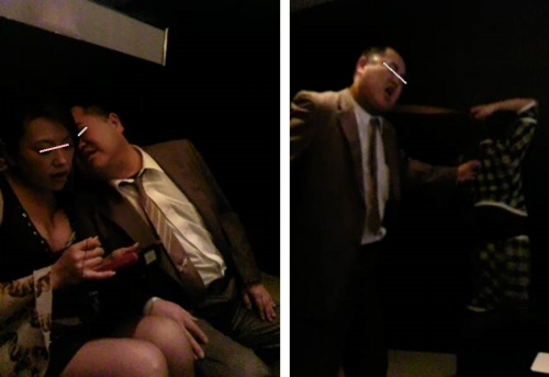 沼津DSキャバクラでキャバ嬢を口説く俺の写真とカラオケシャウトする俺の写真を1枚にした画像