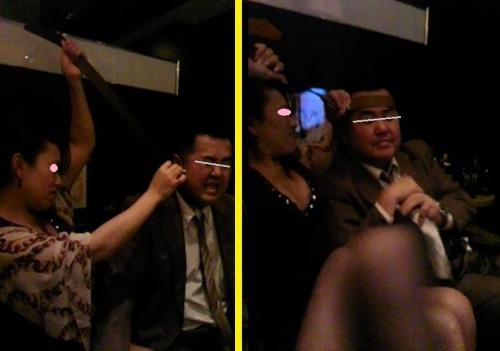 沼津DSキャバクラで嬢に俺のベルトを脱ぎ取られハチマキにされた2枚写真を1枚にした画像