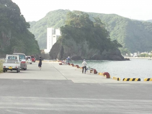 伊豆の松崎町のクロダイが釣れる釣り場に到着したのは朝6時頃だった風景をシャメ写真撮影しました
