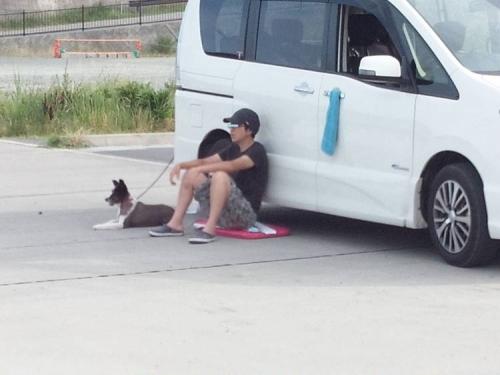 伊豆の松崎町の海釣り場も暑くなり釣り人がペットの犬と休んでいた光景をシャメ撮影しちゃいました