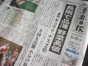 140820野菜高値新聞記事
