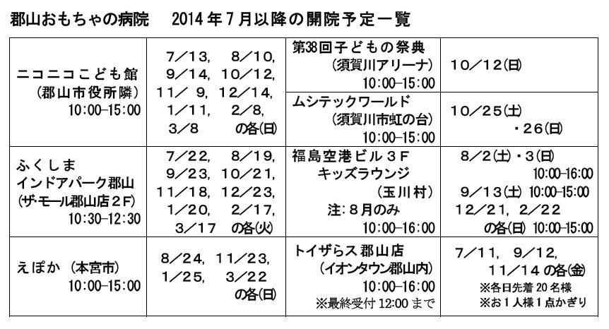 2014 7 以降開院予定