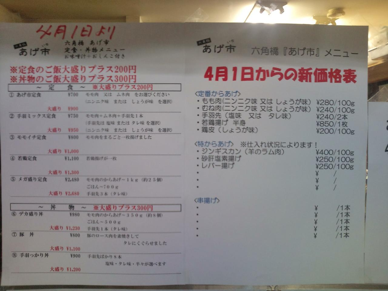 六角橋あげ市(メニュー)