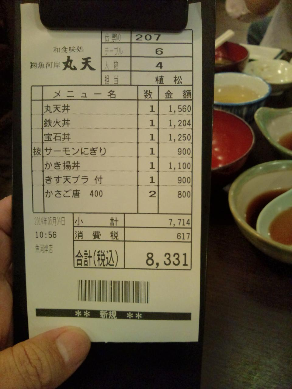魚河岸丸天魚河岸店(レシート)