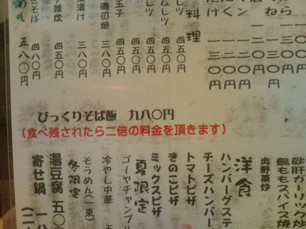 居酒屋田(メニュー)