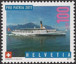 切手 蒸気船スイス