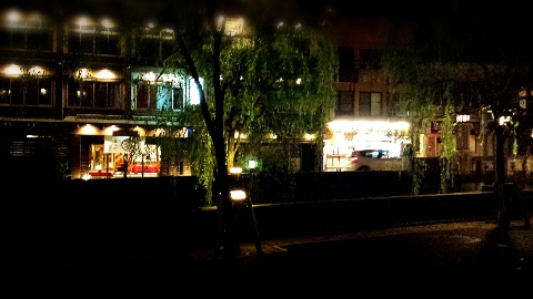 城崎温泉の夜の街並み