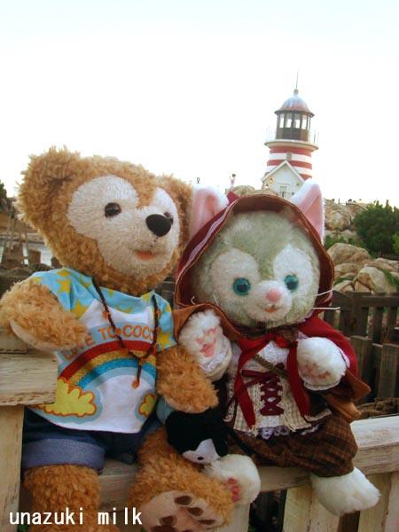 灯台前のダフ&ジェラ