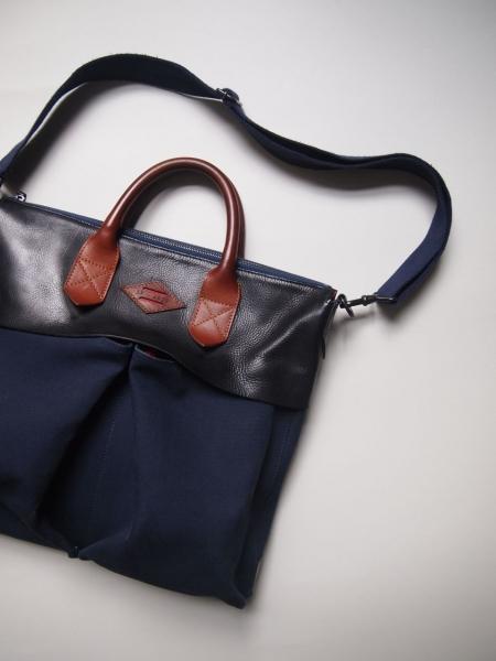 madeinfranceフランス製leonflamレオンフラムhelmetbagヘルメットバッグpilotbagパイロットバッグnavy紺使用後