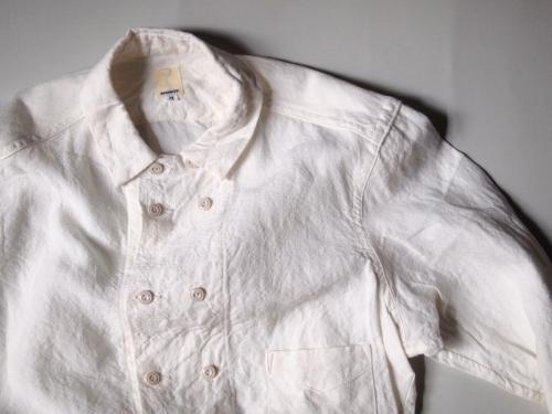 tatamizeタタミゼwhitelinen白リネン麻ダブルブレストシャツ01