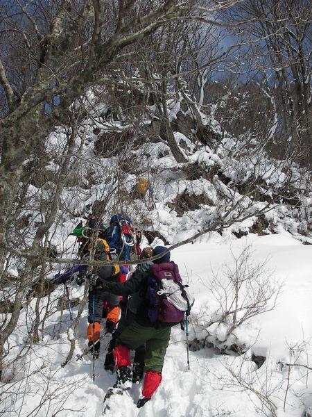 岩峰を登る