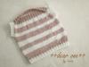 ~Knit for Baby~ お祝いのベビーベスト/ホワイト×ピンクボーダー(2014/02/21)