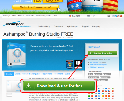 Ashampoo Burning Studio FREE ダウンロードページ