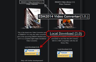 EDM2014 Video Converter ダウンロードページ
