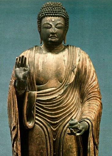 袈裟と僧祇支の併用着衣の元興寺・薬師像