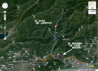 旧中川村と旧都夫良野村の位置関係