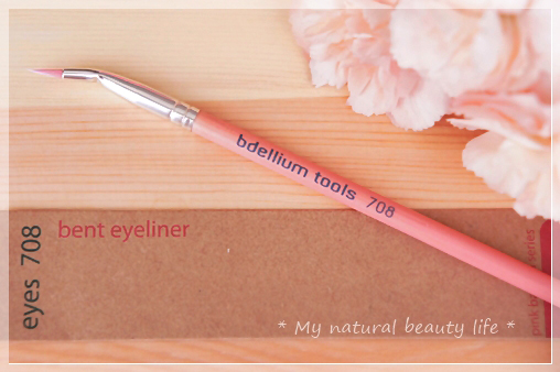 Bdellium Tools, Pink Bambu Series, Eyes 708, Bent Eyeliner Brush