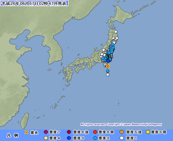 関東地方で地震 震源、房総半島南方沖 M5.3 最大震度3 深さ120km