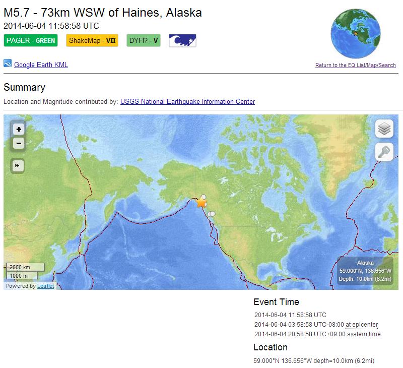 日本も乗ってる北米プレートで比較的大きな地震が続いている!アラスカM5.7、千島列島M5.6