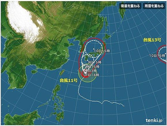 アメリカ生まれのハリケーン「ジェヌヴィーヴ」が西へ進んで台風13号に変化