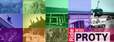 ride with proty skate banner